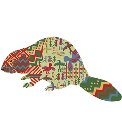 Beaver in the ethnic pattern of Indians vector