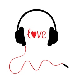 Black headphones with red cord Isolated Love card vector