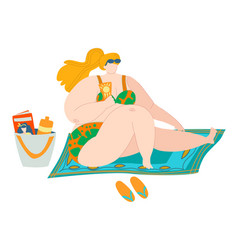 body positive beach woman in swimsuits sea summer vector image
