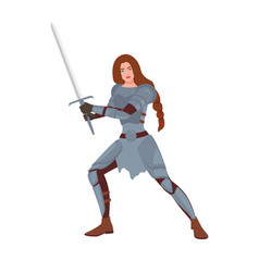 Brave female warrior or medieval knight woman vector