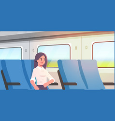 businesswoman traveling train passenger woman vector image