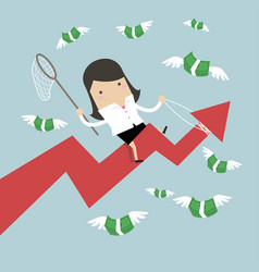 businesswoman trying to catch money fly vector image