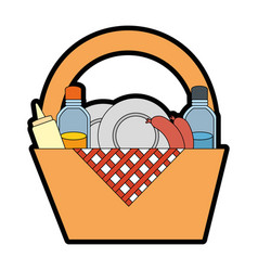 camping basket cartoon vector image