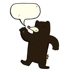 Cartoon waving black bear with speech bubble vector