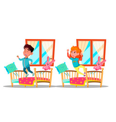 children waking up cartoon characters set vector image
