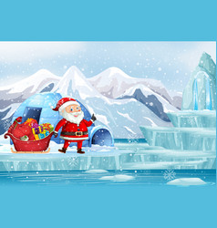 Christmas scene with santa in northpole vector
