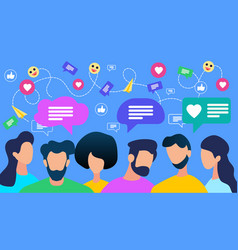 communicating people crowd with speech bubble vector image
