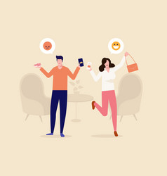 Couple and home shopping online experience vector
