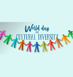 Cultural diversity day banner paper people team vector