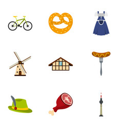 Culture features of germany icons set flat style vector