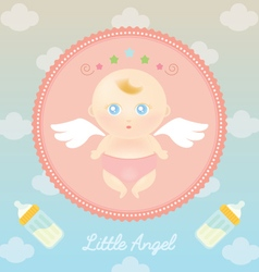 Cute Angel Baby with Milk Bottle vector image