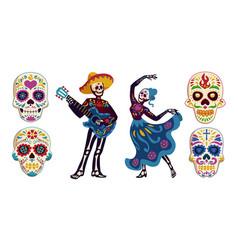 day dead dia de los muertos characters vector image