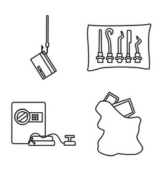Design thug and robbery icon set of vector