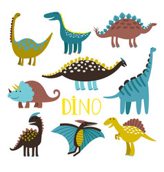 Dinosaurus set on white background vector