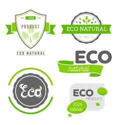 eco icons labels set organic tags natural vector image
