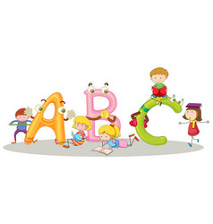 English alphabets and happy children vector
