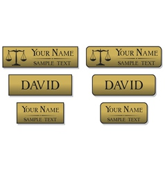Engraved metal name badges vector
