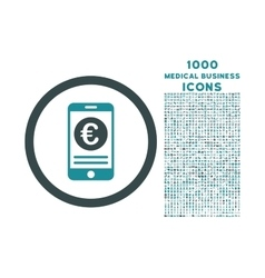 Euro Mobile Banking Rounded Icon with 1000 Bonus vector image