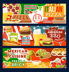Fast food pizza and bbq meat meals vector