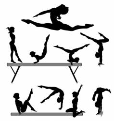 female gymnast silhouettes vector image