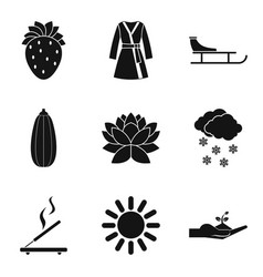 Female organism icons set simple style vector
