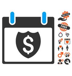 Financial shield calendar day icon with love bonus vector