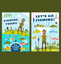 Fishing and big fish catch tours vector