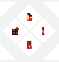 Flat icon chocolate set of sweet cocoa shaped vector