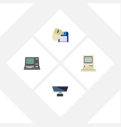 Flat icon computer set of pc computing vector