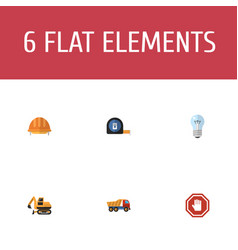 flat icons stop sign van roll meter and other vector image