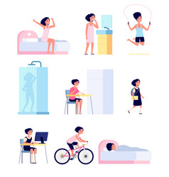 girl daily routine cute child morning isolated vector image