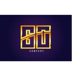 gold golden alphabet letter go g o logo vector image