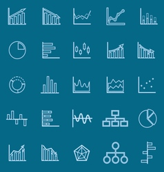 Graph line color icons on blue background vector