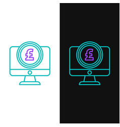 Green and purple line computer monitor with pound vector
