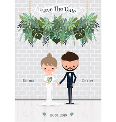 Green wedding cartoon bride and groom invitation vector