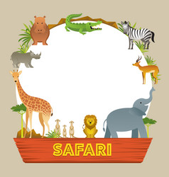 Group of african safari animals frame vector