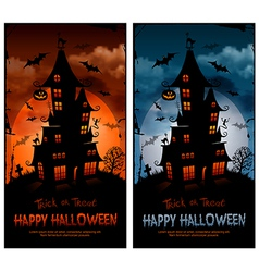 Halloween night background with haunted house and vector