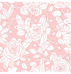 hand drawn seamless pattern white rose flowers vector image