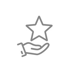 Hand holds star on palm line icon charity add vector