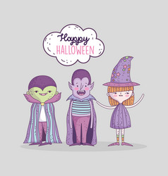 happy halloween celebration kids with costume vector image