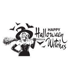 happy halloween witches comic hand drawn lettering vector image