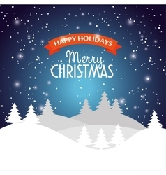 happy holidays merry christmas landscape snow star vector image