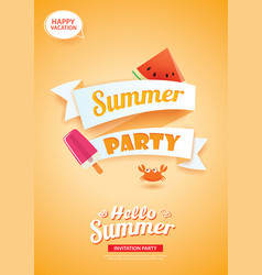 Hello summer party card banner with orange vector