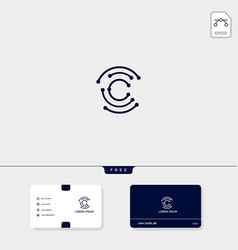 Initial c cc outline creative logo template and vector