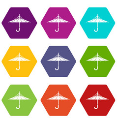 Inside out umbrella icons set 9 vector