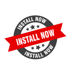 Install now sign round ribbon sticker isolated tag vector