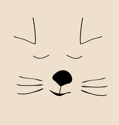 kitty sleep cute funny cartoon cat head vector image