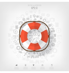 Lifebuoy web iconBackground wit application vector