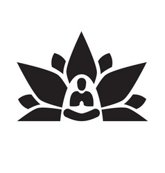 Lotus yoga aura black vector