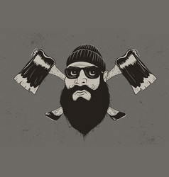 lumberjack with two axes vector image